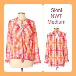 Sioni NWT Boho Tie Dye Ruffle Tunic Blouse M